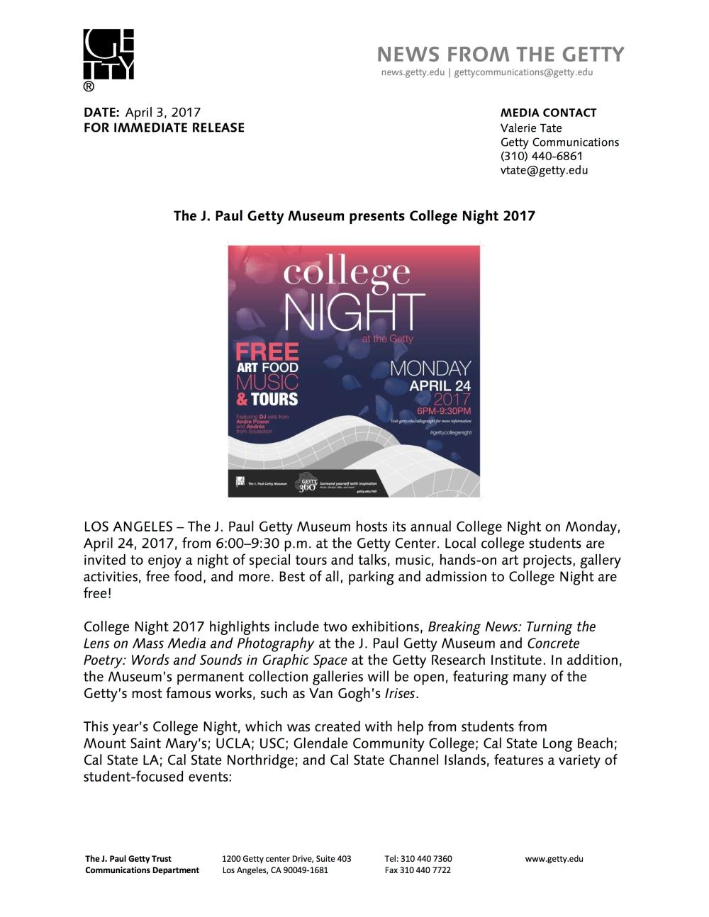 Press Release - Getty Center College Night 2017